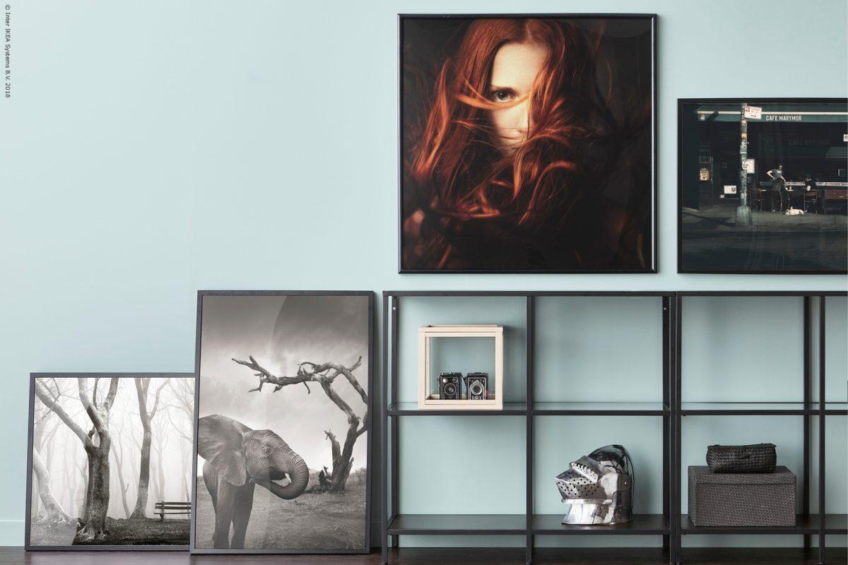 IKEAs tavelserie NORRHASSEL uppställda mot väggen